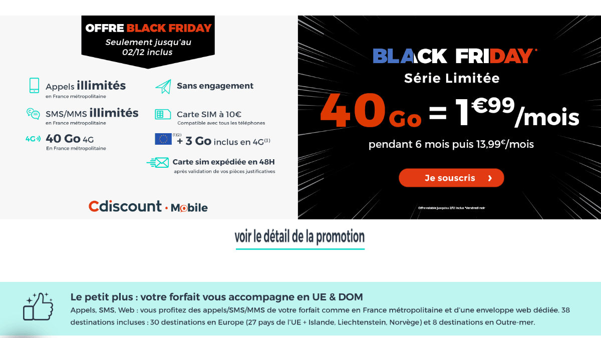 Cdiscount Mobile promotion forfait 4G