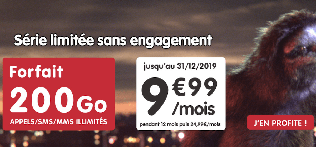 200 Go à 9,99€/mois avec la série limitée sans engagement de NRJ Mobile