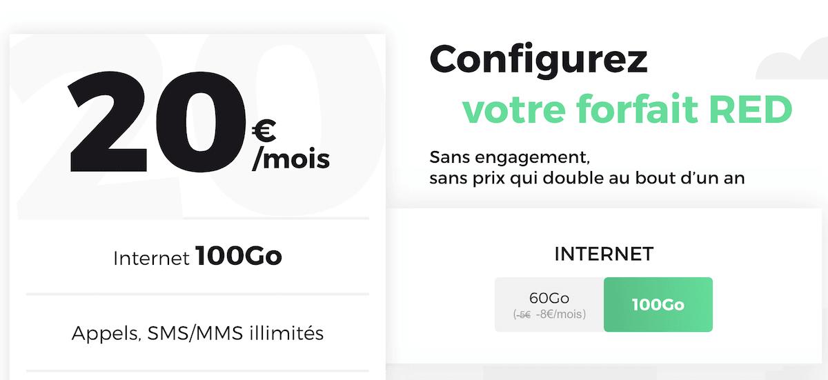 Le forfait en promo de RED by SFR pour 100 Go à 20€