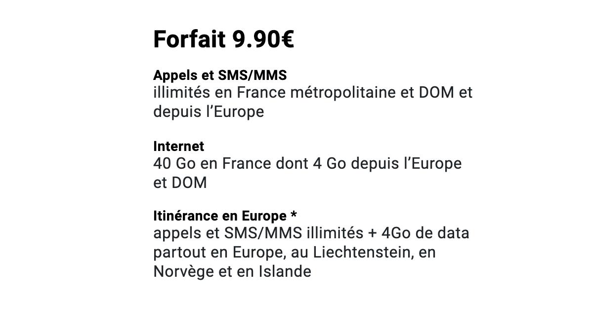 Le forfait à 9,90€ pour 40 Go de data de Syma Mobile