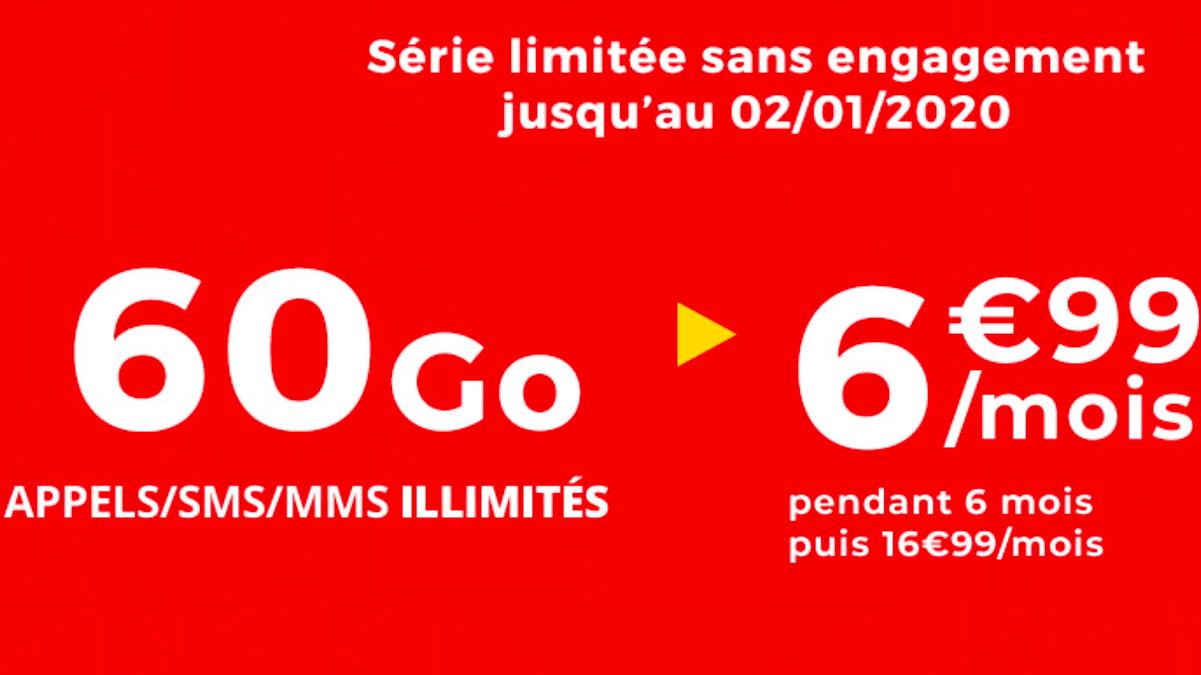 60 Go à 6,99€ par mois pendant 6 mois pour un forfait sans engagement, c'est chez Auchan Telecom.