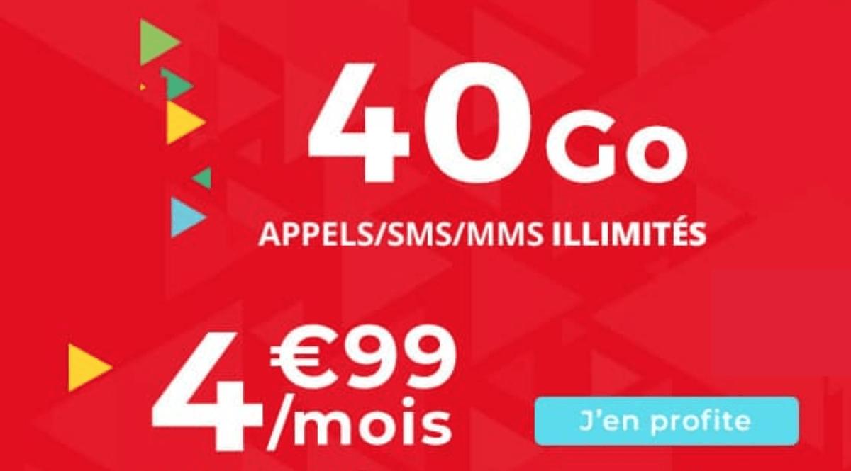 L'offre promotionnelle d'Auchan Telecom pour un forfait 4G à 4,99€/mois