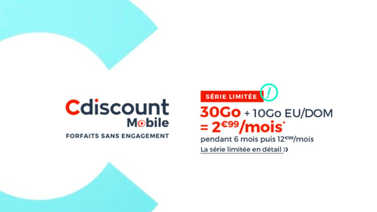 L'offre promotionelle de Cdiscount Mobile pour un forfait 30 Go