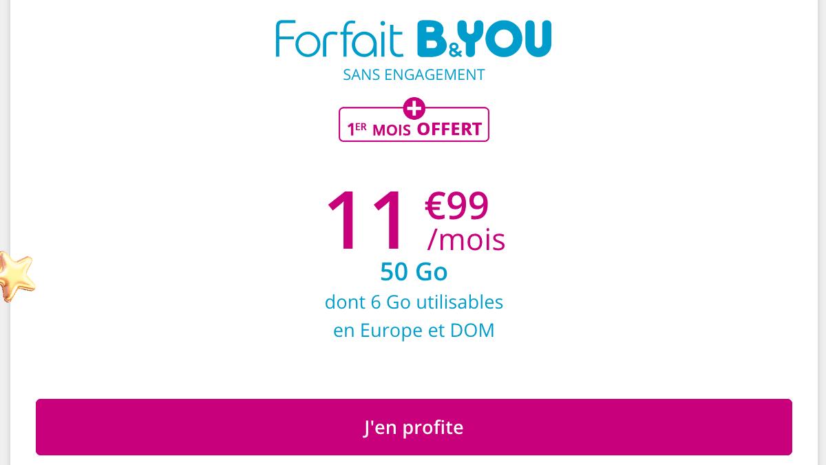 Forfait mobile B&YOU 50 Go en promo pour Noël.