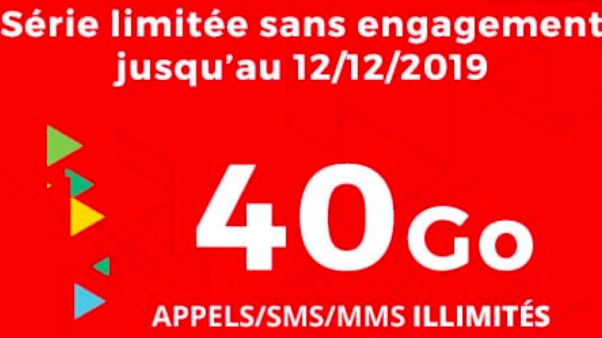 Le forfait pas cher commercialisé en ce moment par Auchan Telecom avec 40 Go de data