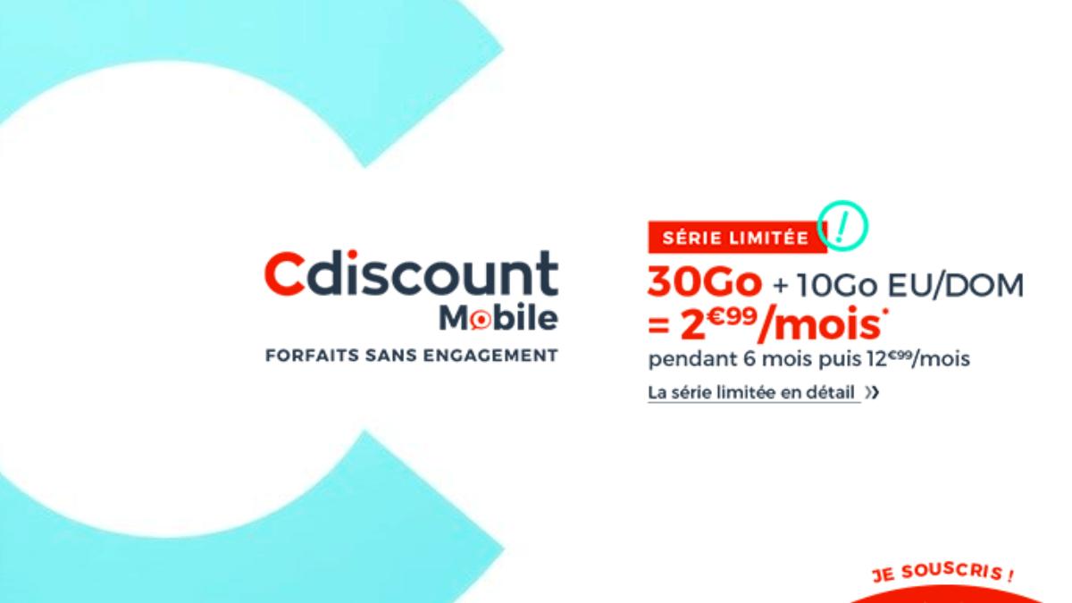 Le forfait en promo proposé par Cdiscount Mobile avec 30 Go de data