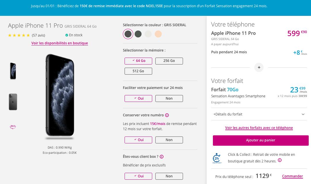 iPhone 11 pro avec bouygues telecom
