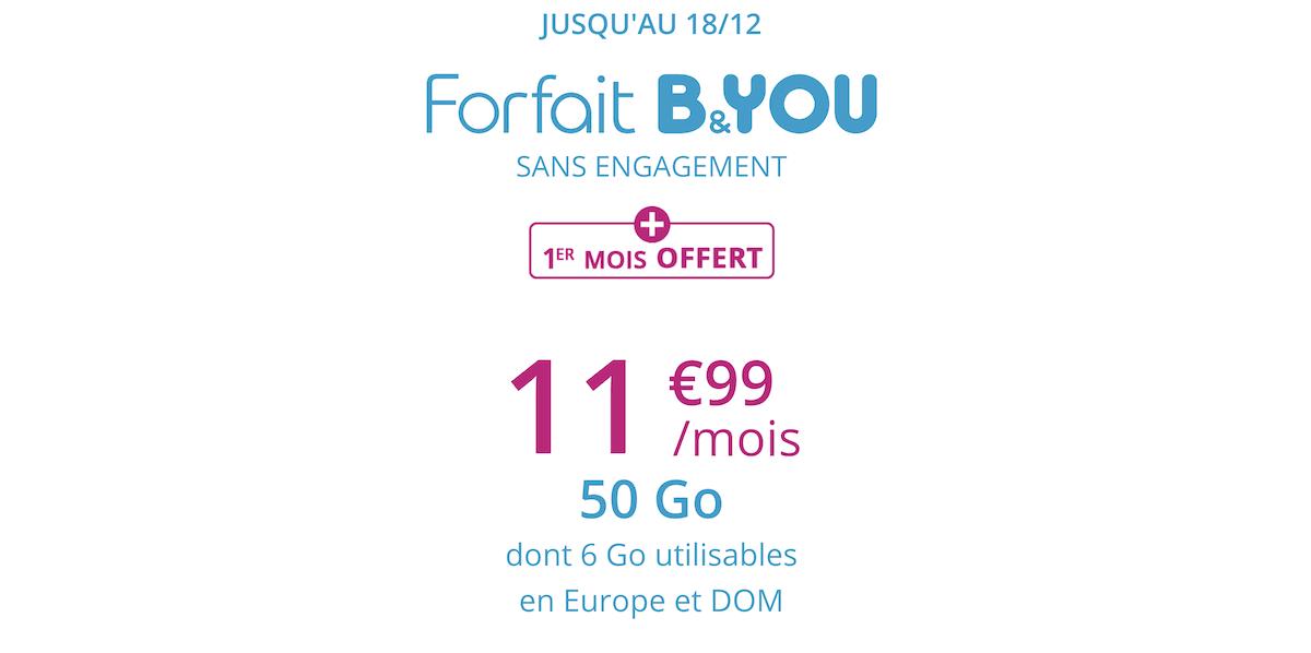 La promotion de B&YOU pour un forfait 50 Go à petit prix