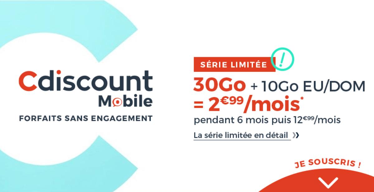 L'offre promotionnelle de Cdiscount Mobile pour un forfait 4G à prix réduit