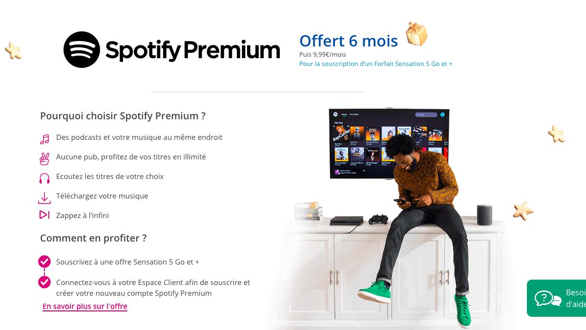 Spotify Premium offert avec le forfait 70 Go de Bouygues Telecom