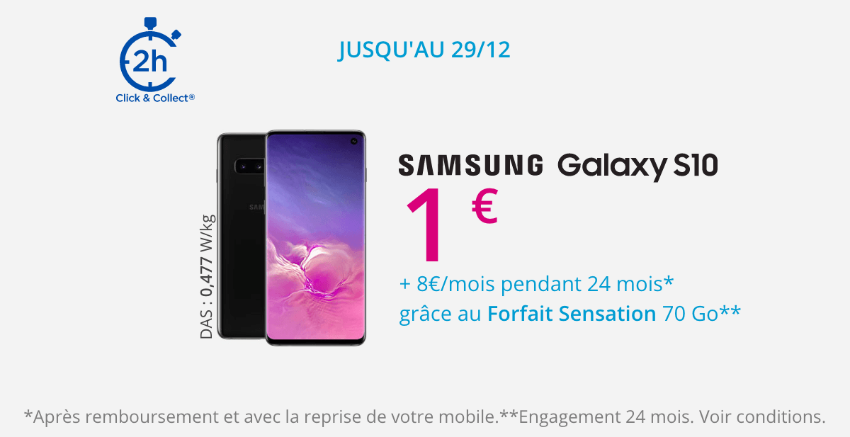 Le Samsung Galaxy S10 en promotion dans le catalogue de Bouygues Telecom