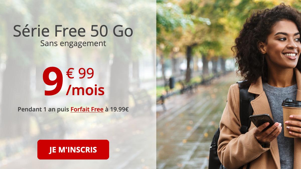 Forfait pas cher 50 Go chez Free mobile.