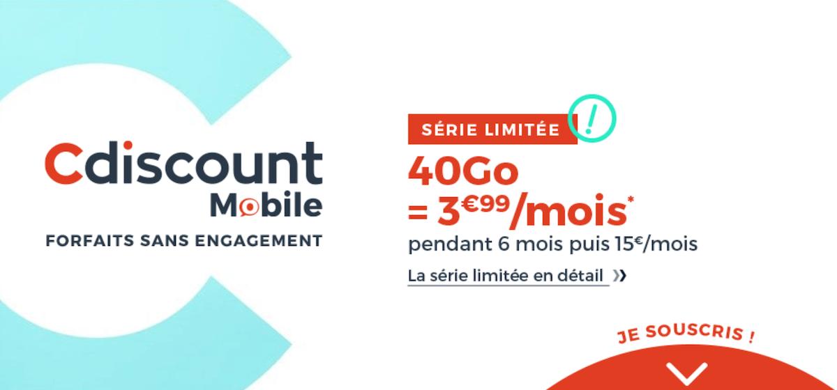 Le forfait en promo de Cdiscount Mobile pour une offre 40 Go à petit prix