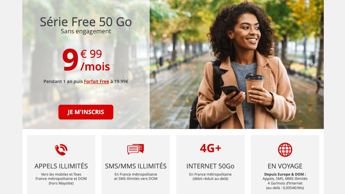 La série Free 50 Go disponible à 9,99€/mois