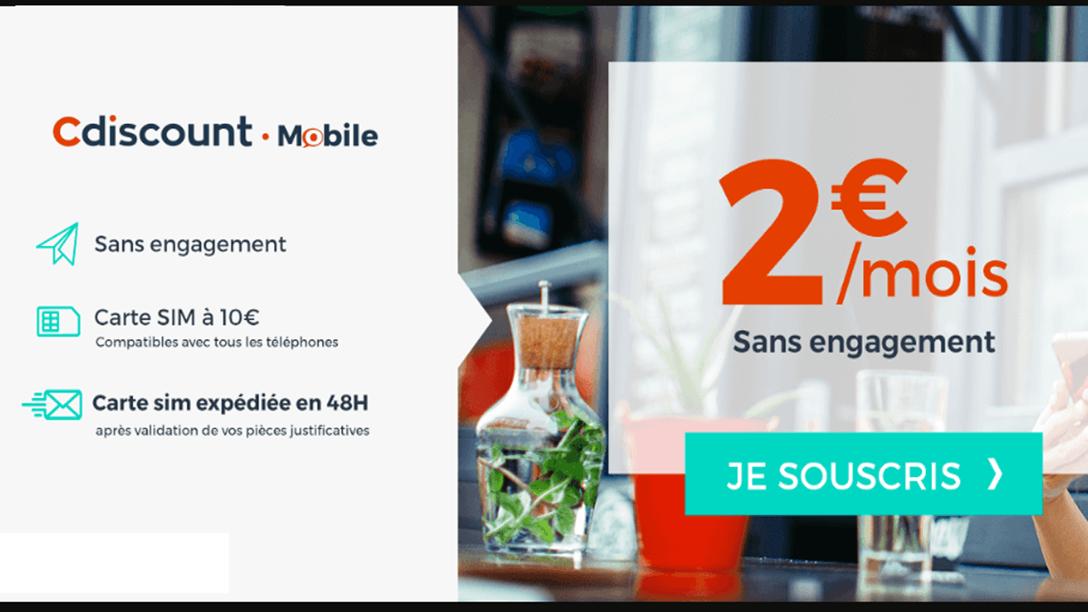 Un forfait à 2€ CDiscount Mobile pour 3h20 d'appel, 200 SMS et 200 Mo de données internet.