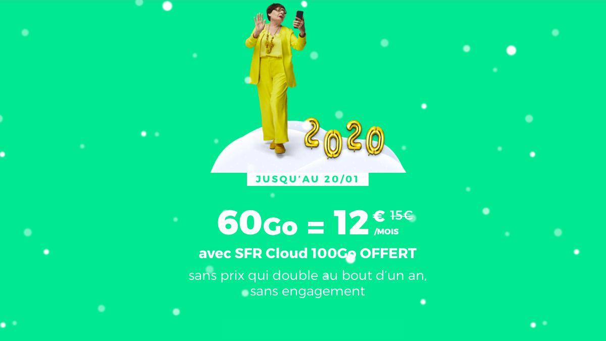 Le forfait sans engagement chez RED by SFR, c'est 60 Go à 12€ seulement.