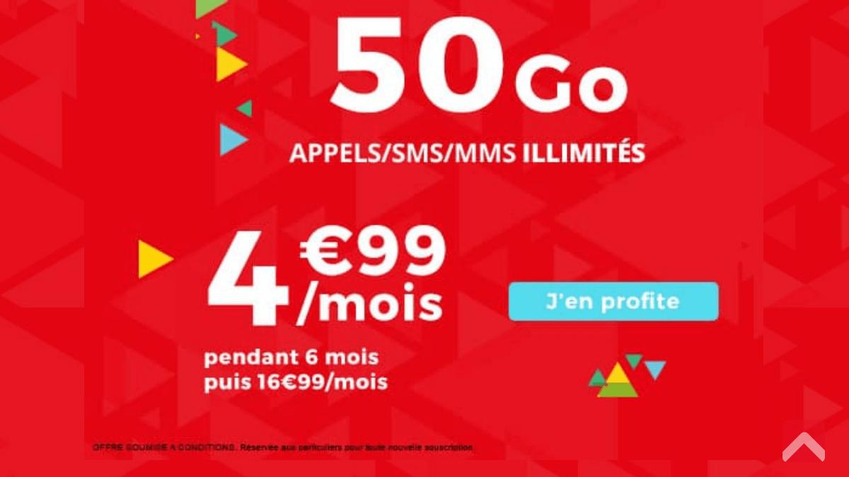 Auchan Telecom : 50 Go de data pour 4,99€.