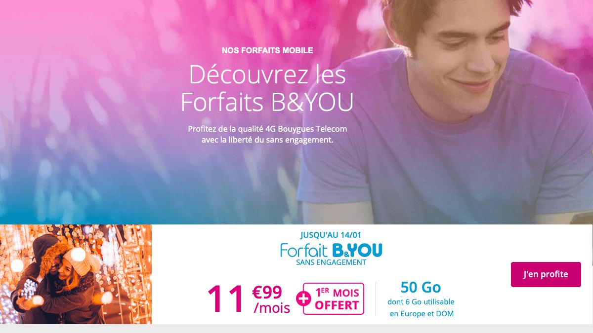 Le forfait mobile B&You est disponible à partir de 11,99€.