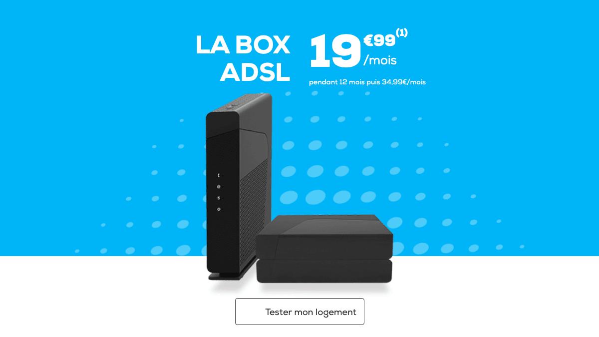 Chez La Poste Mobile, en plus d'un forfait pas cher, l'ADSL haut débit est à partir de 19,99€.
