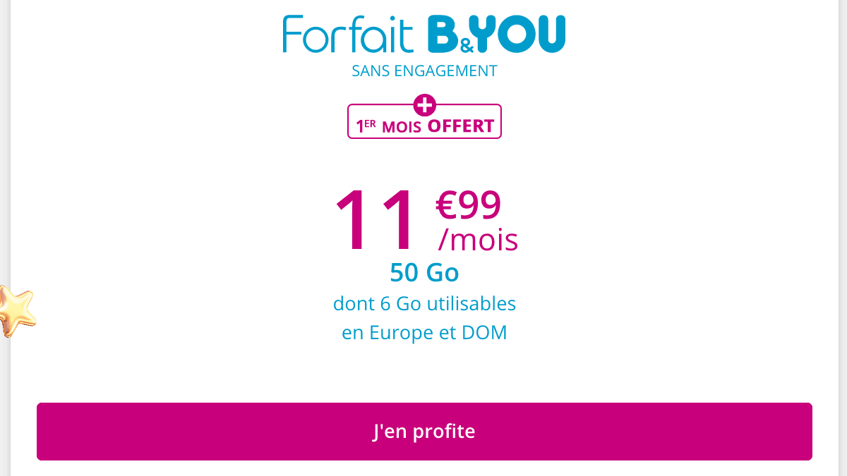 Forfait mobile en promo chez B&YOU.
