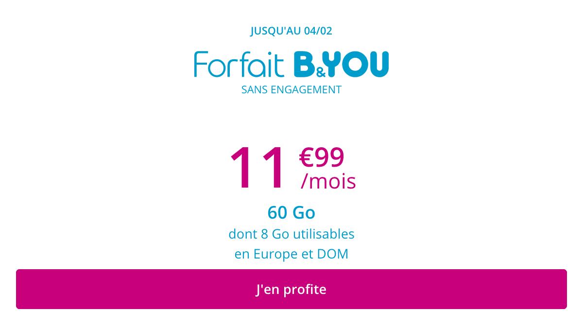 B&YOU 60 Go : un forfait en promo chez Bouygues Telecom.