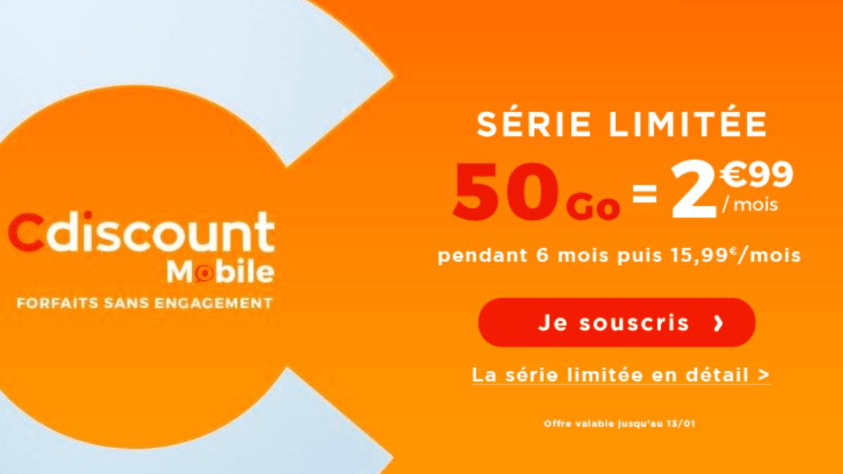 Le forfait 50 Go de Cdiscount Mobile disponible en promotion