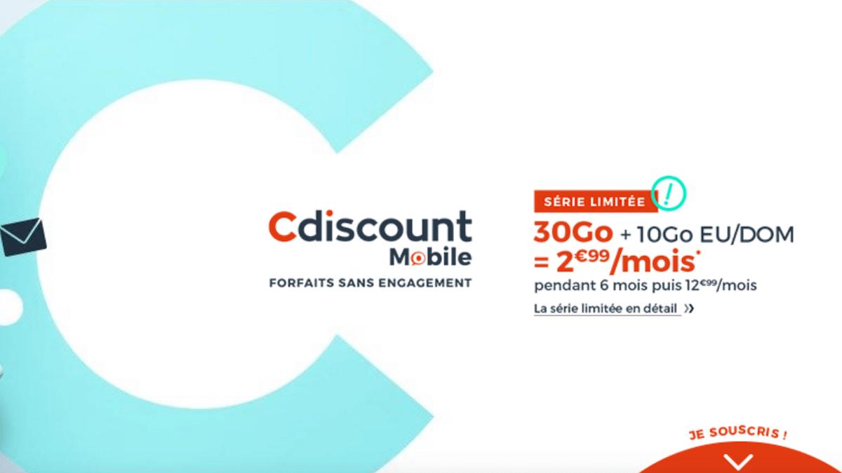 Cdiscount Mobile propose un forfait 30 Go à moins de 3€/mois