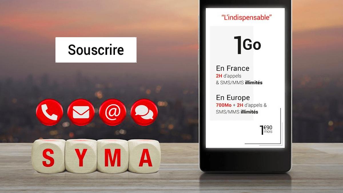 Le forfait pas cher le plus incontournable de Syma Mobile est à 1,90€/mois