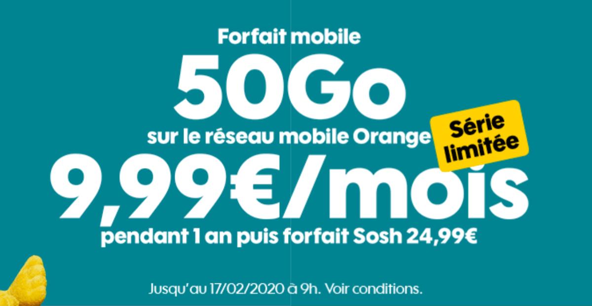 Le forfait de Sosh disponible à 10€ par mois