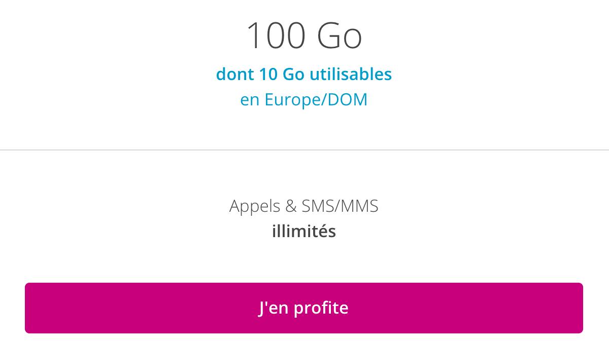 Forfait mobile 100 Go pas cher.