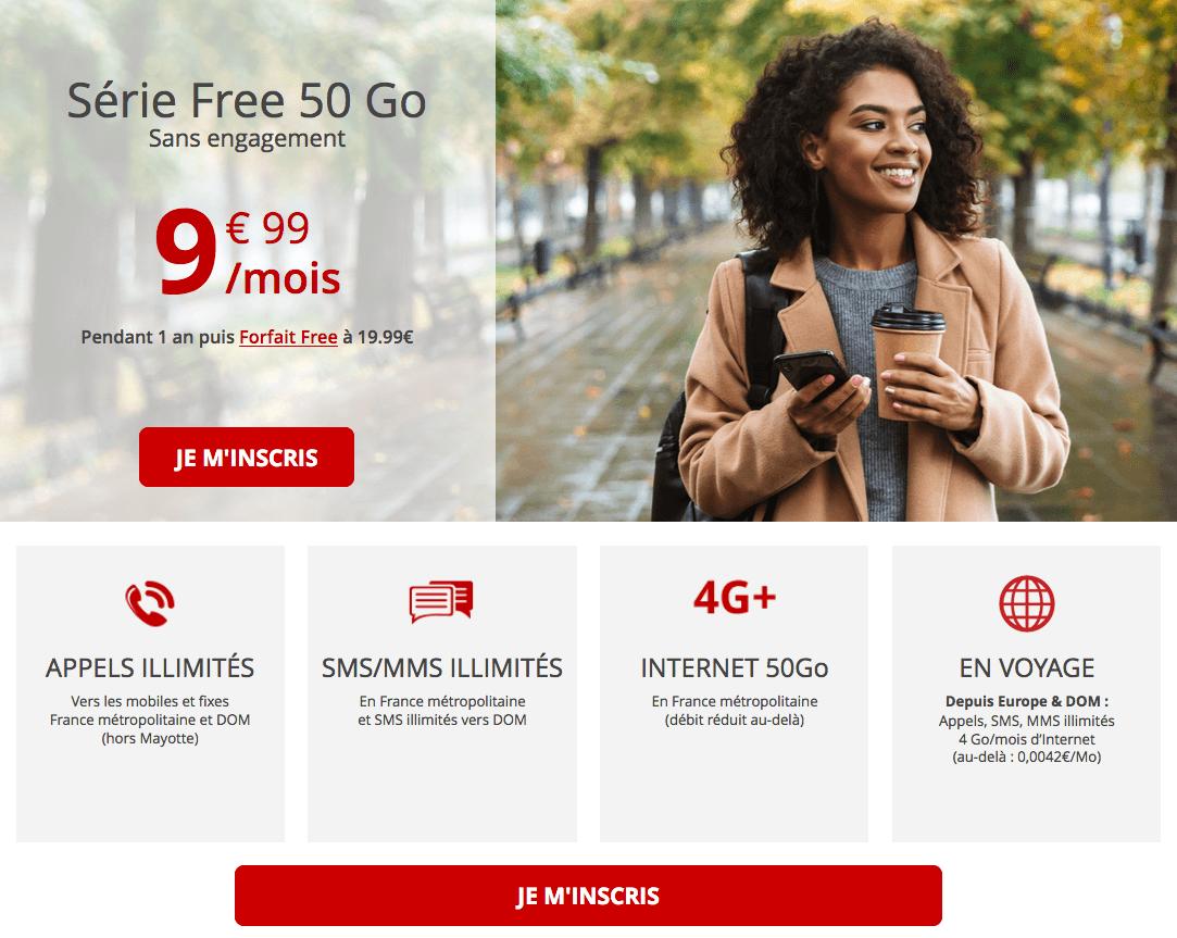 Souscrire le forfait 4G 50 Go de Free
