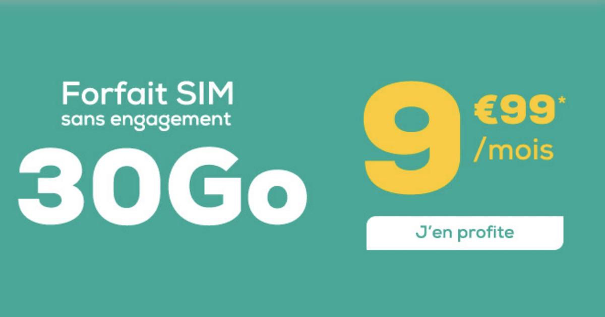 Le forfait 30 Go à 9,99€/mois de La Poste Mobile