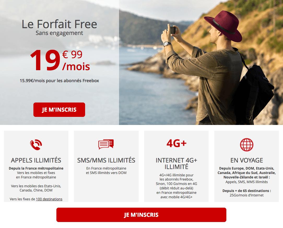Le forfait 4G 100 Go de Free mobile