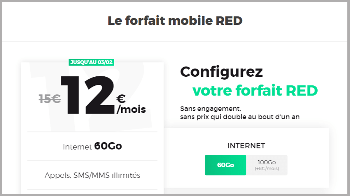 Forfait 4G RED by SFR en promotion.