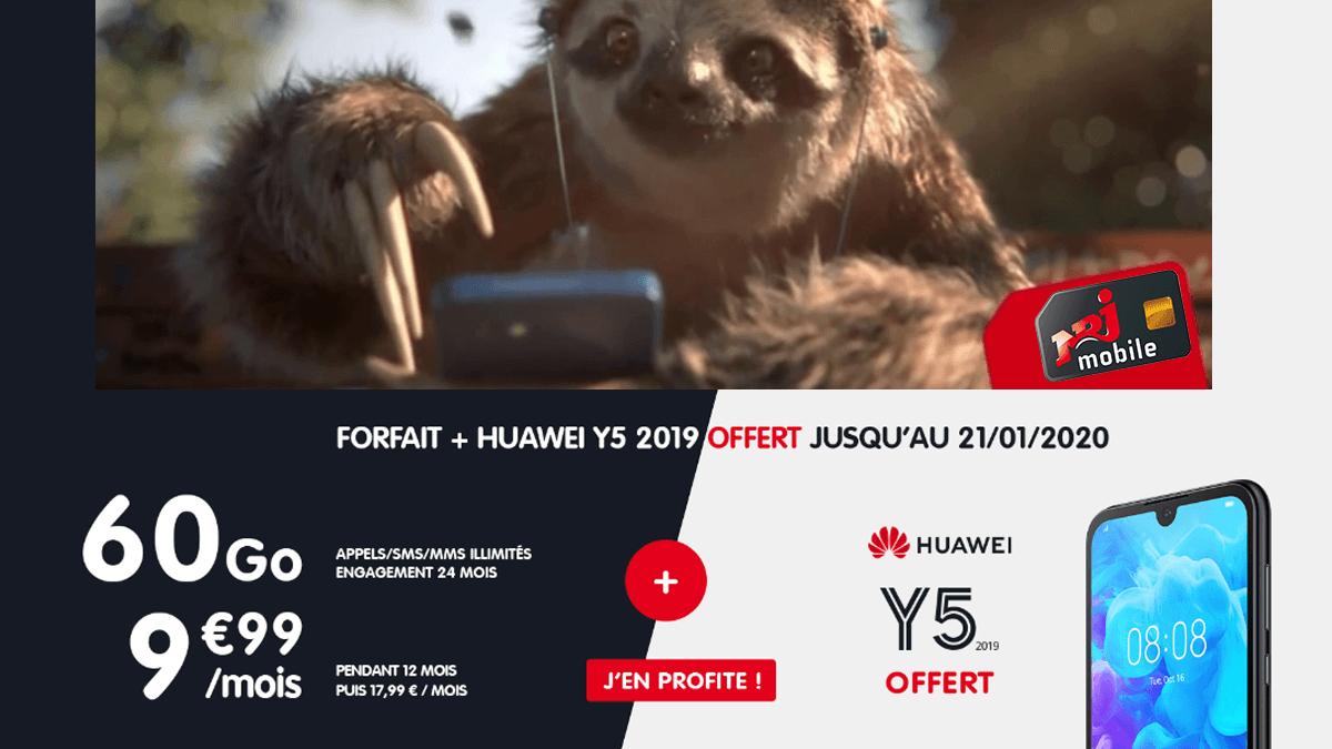 NRJ Mobile propose un forfait à 9,99€/mois incluant un Huawei Y5 2019 offert.