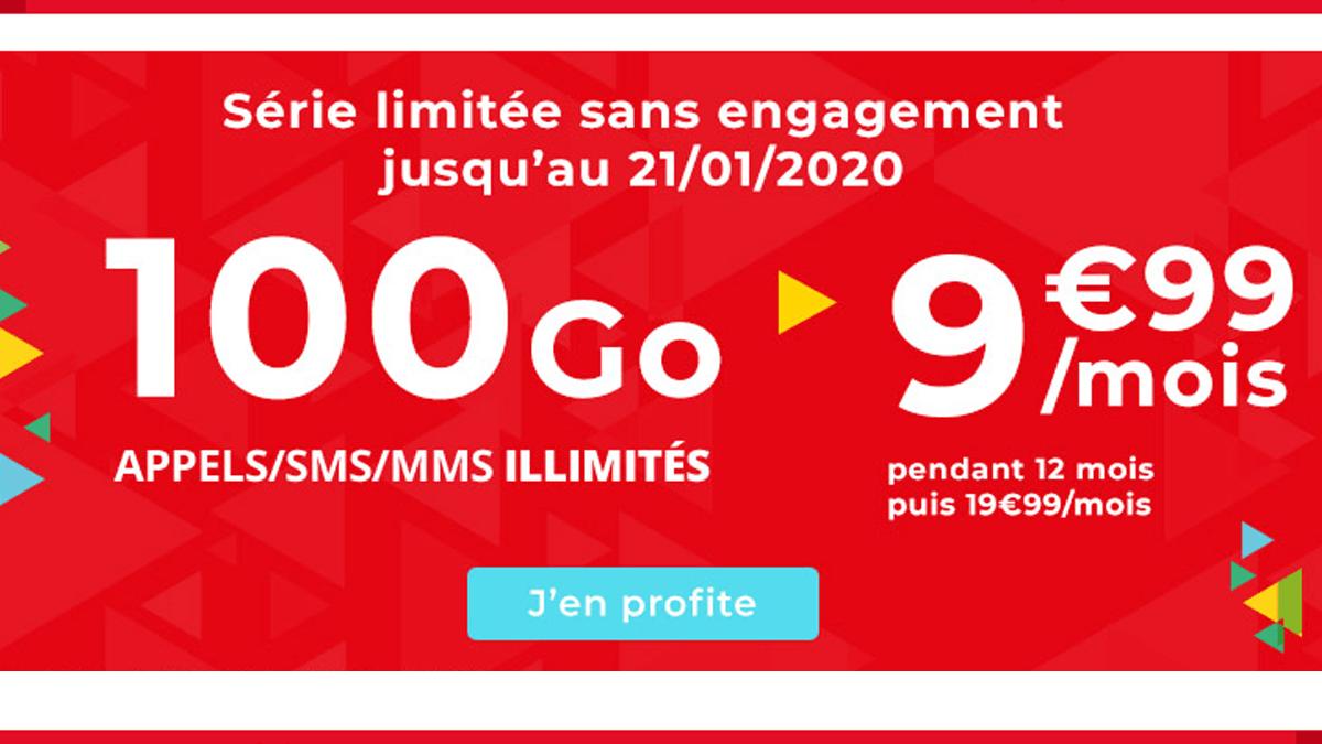 Auchan Telecom propose également un forfait soldé à 9,99€ pour 100 Go de date et 50€ remboursés sur une sélection de smartphones.