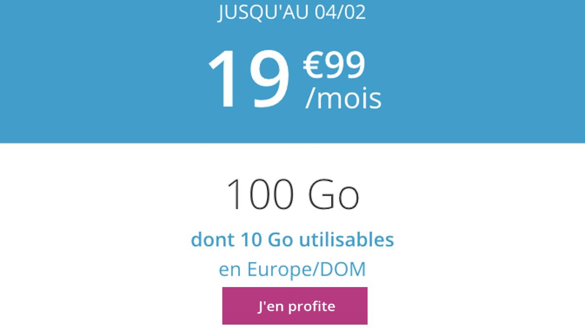 B&YOU fait une promotion sur son forfait 100 Go à moins de 20€/mois