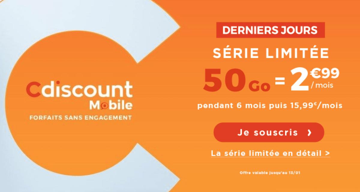 2,99€/mois pour 50 Go avec le forfait en promo de Cdiscount Mobile