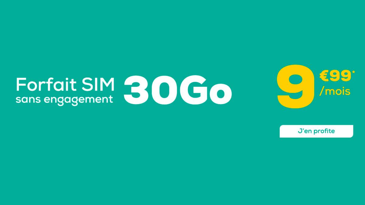 Le forfait SIM chez La Poste Mobile c'est 30 Go pour 9,99€ par mois.