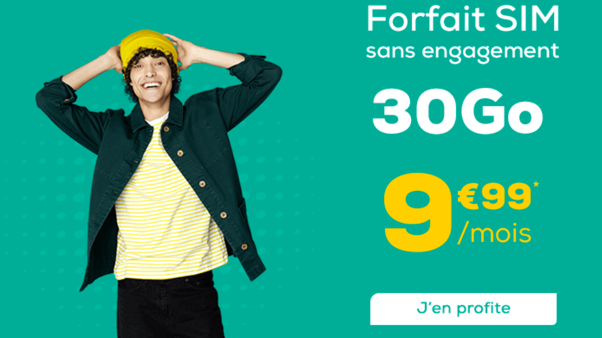 Un forfait pas cher chez La Poste Mobile c'est 30 Go pour 9,99€.