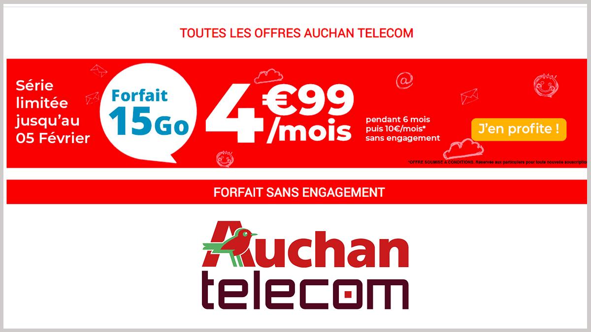Forfait mobile Auchan Telecom en promotion