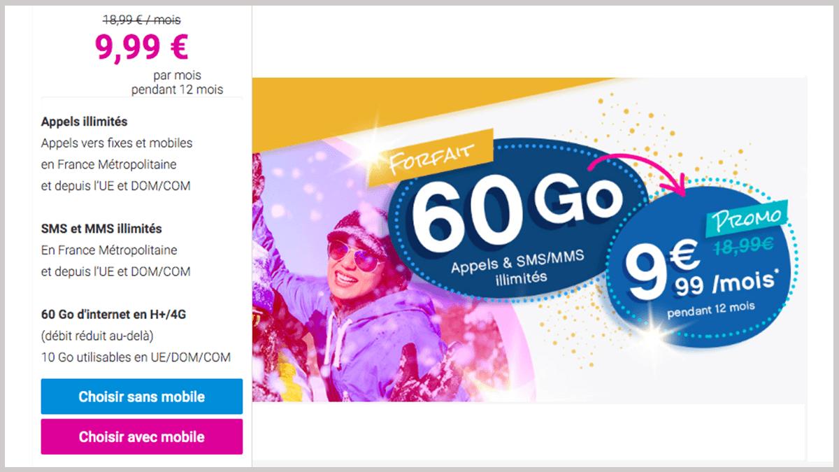 Forfait mobile Coriolis Telecom en promotion.