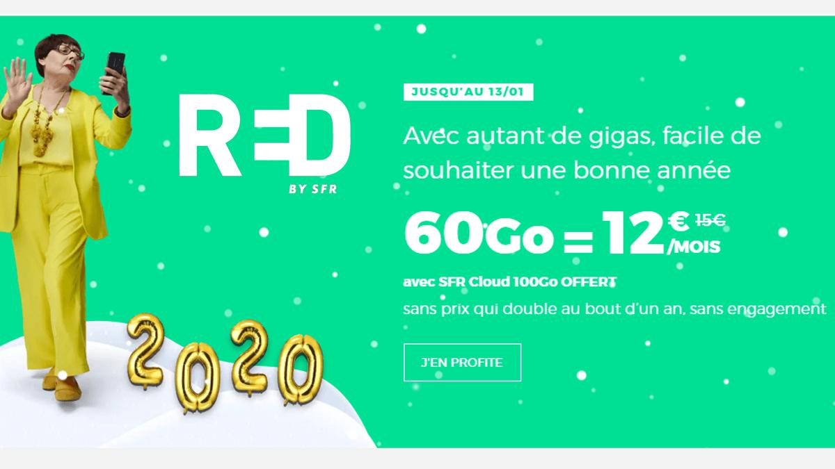 RED by SFR propose son forfait 60 Go à 12€/mois en soldes.