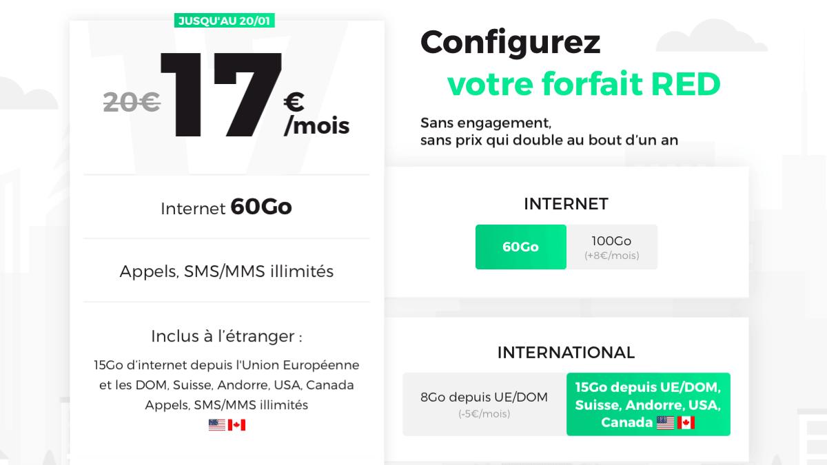 Forfait pas cher pour frontaliers, direction RED by SFR et ses 60 Go pour 17€.