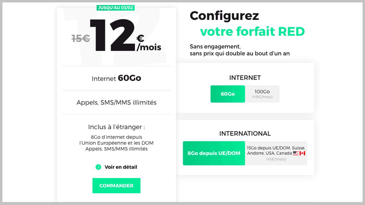 RED by SFR propose un forfait sans engagement en promo.