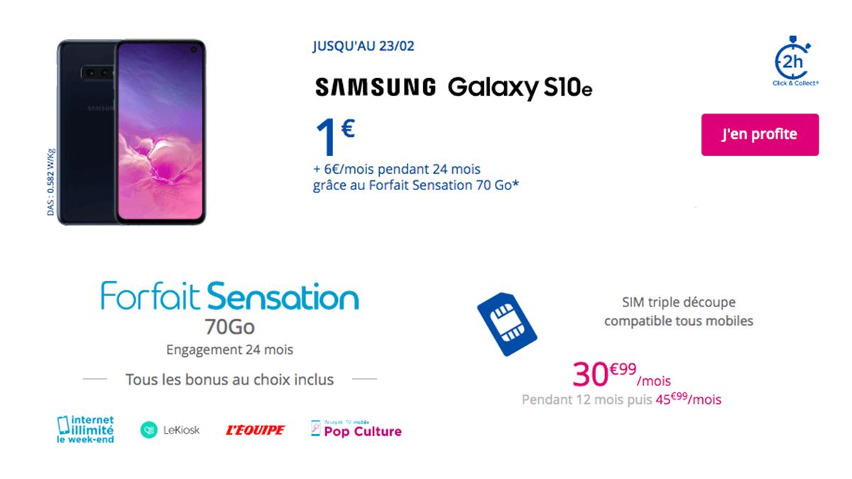 Sasmung Galaxy S10e et forfait Sensation 70 Go.