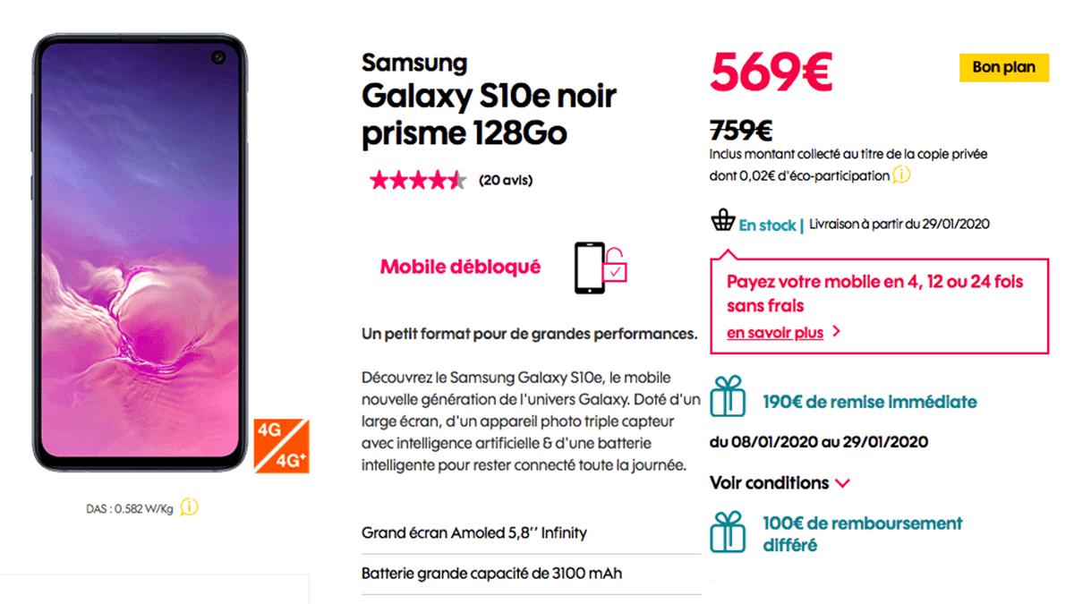 Sosh propose le Samsung Galaxy S10e