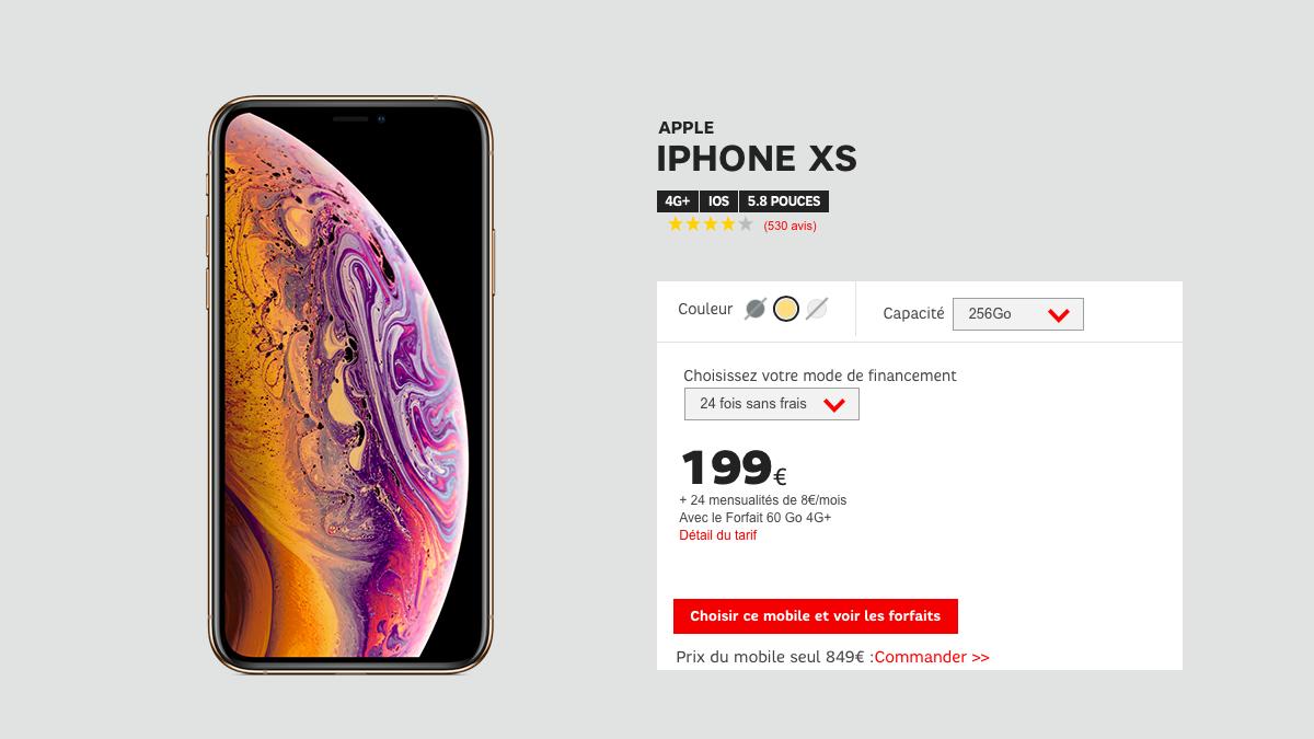 Pour un iPhone pas cher, le modèle Xs est en promotion chez SFR avec un forfait 60 Go.