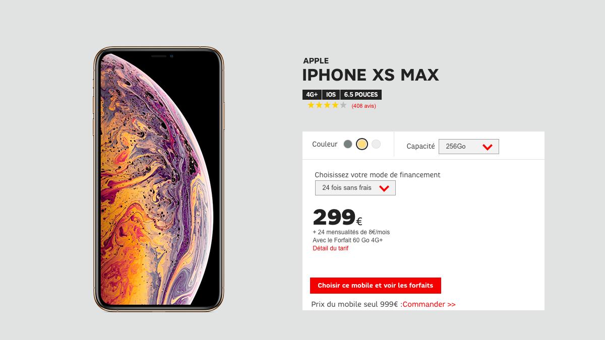 Toujours dans les iPhone pas cher, le Xs Max est 300 euros moins cher chez SFR.