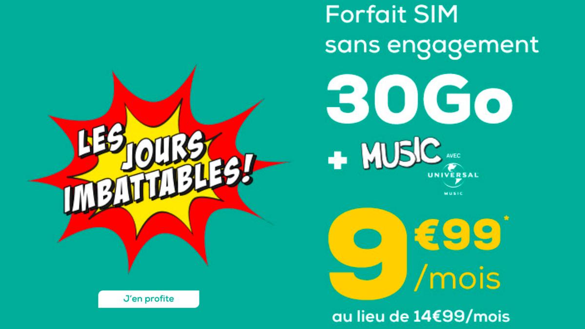 Chez La Poste Mobile, un forfait pas cher c'est 30 Go à moins de 10€.